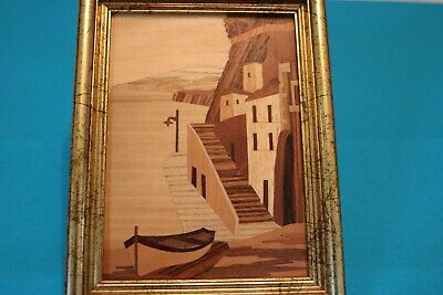 SORRENTO WARE INLAID WOOD MARQUETRY FRAMED PICTURE WITH CERT  16cm X 21cm  Label