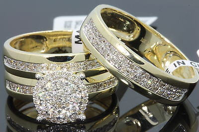 10K YELLOW GOLD .83 CT MEN WOMEN DIAMOND TRIO ENGAGEMENT WEDDING RING BAND SET