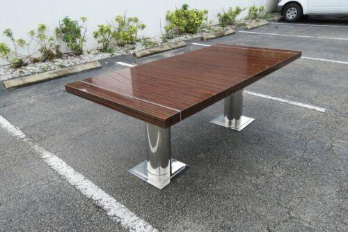 Mid Century Chrome Rosewood Hi Gloss Finish Large Dining Table 2026