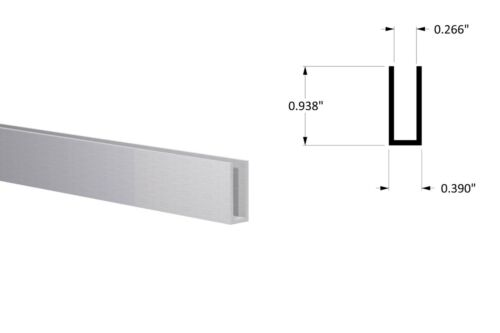 "Aluminum Channel: (3/8"" W x 15/16"" H x 1/16) Fits 1/4"" Clear Anodized 3Ft Length"