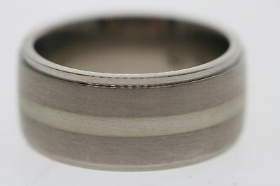 - Edward Mirell 10mm Titanium & Sterling Silver Satin Center Step Edge Band Ring