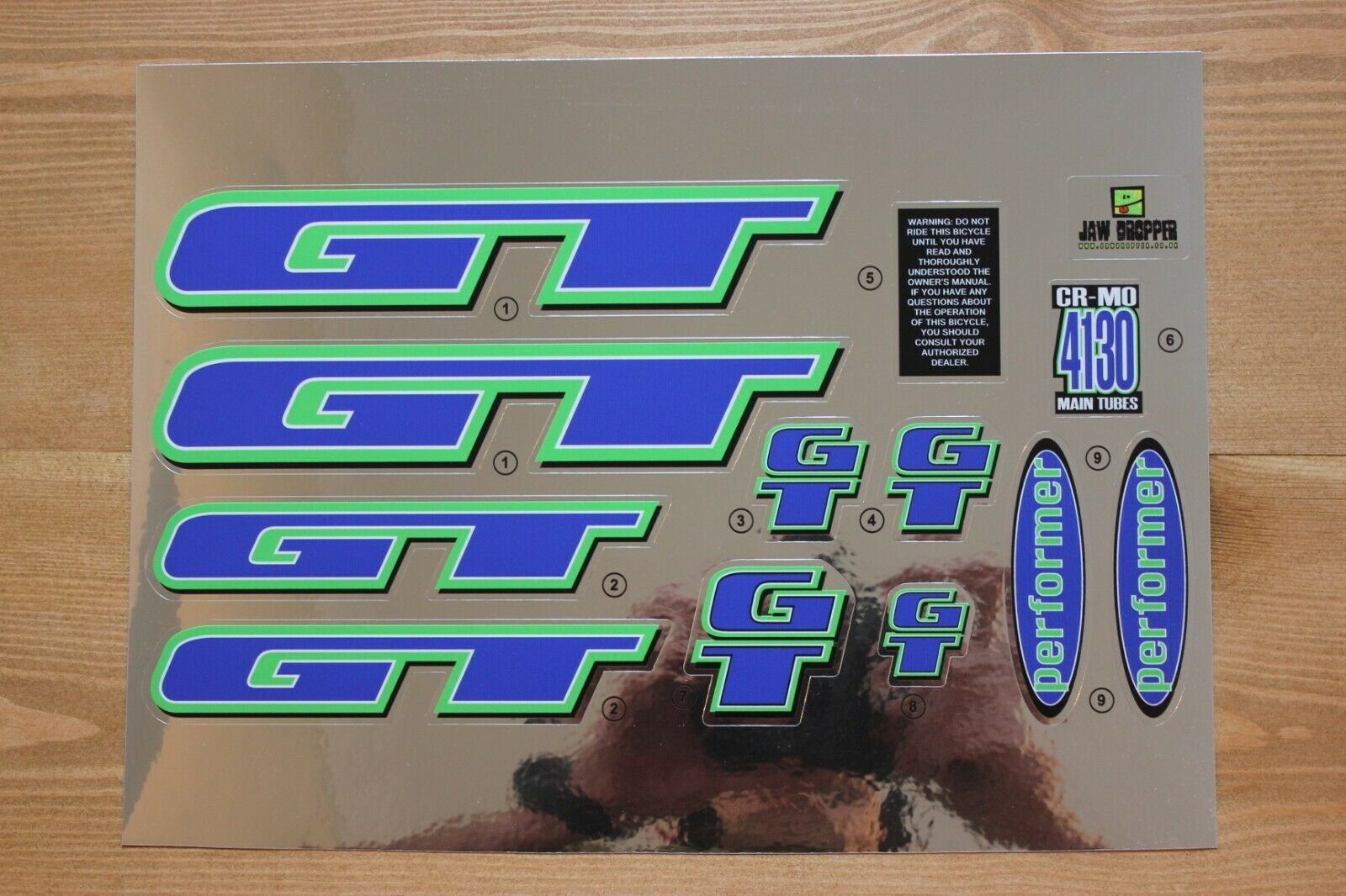 Chrome Backing Reproduction 1998 GT Performer BMX Decal Set
