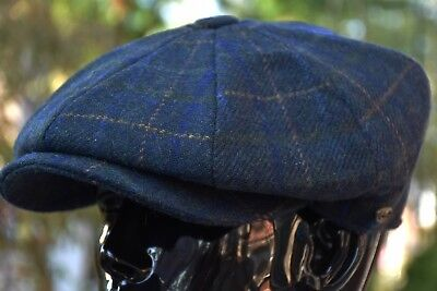 Men's Wool Newsboy Cap, Driving Cabbie Applejack Plaid Tweed Golf Hat Ns2157Navy