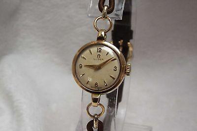 (17) Ladies Vintage 9ct Solid Gold Omega Swiss Wrist Watch
