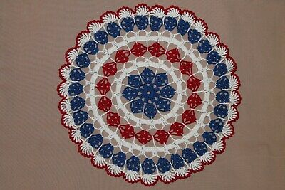 New Hand Crocheted Doily- blue white red -