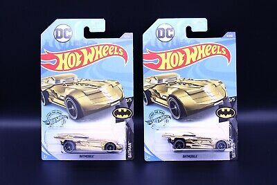 Batmobile 2020 Hot Wheels DC  9/250 Batman Series 3/5 Gold Chrome  Lot Of 2
