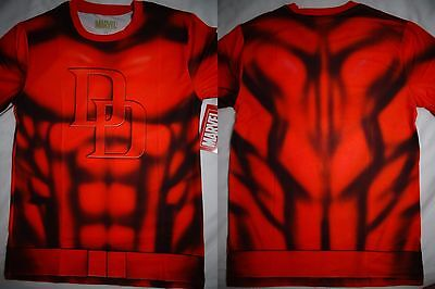 Daredevil Marvel Comics Costume Front And Back Sublimation Print T-Shirt - Marvel Daredevil Costume