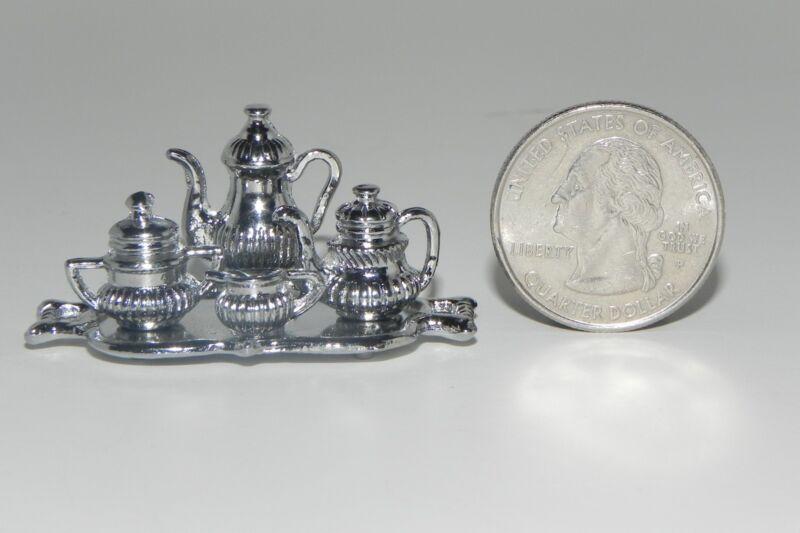 Dollhouse Miniature Silver Color Tea Set Diorama 1:12 Scale