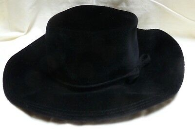 1970s Hudson's Woman's Black Wool Hat Made in Italy w/ Box
