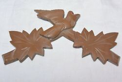 Vintage Wooden Leaves Birds Cuckoo Clock Parts Top Topper Trim 6 1/4 #8D