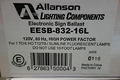 ALLANSON ELECTRONIC SIGN BALLAST EESB-832-16L. 1-6 HO, T-8 120volt NOS