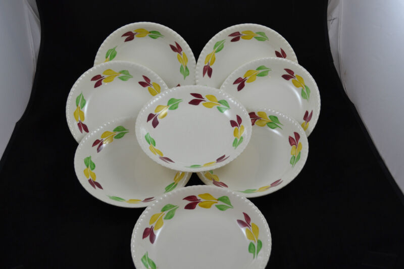 """Blue Ridge Pastel Leaf Red Yellow Green Set of 8 Rimmed Soup Bowls  7 7/8"""""""