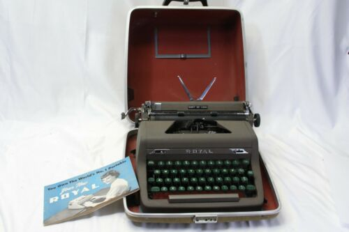 1952 Royal Quiet Deluxe Manual Portable Typewriter w/ Case Tested Guaranteed