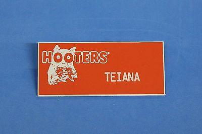 HOOTERS RESTAURANT GIRL TEIANA ORANGE NAME TAG / PIN -  Waitress Pin