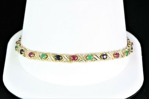 "$2250 14k Yellow Gold Red Ruby Blue Sapphire Emerald X Link Tennis 7.5"" Bracelet"