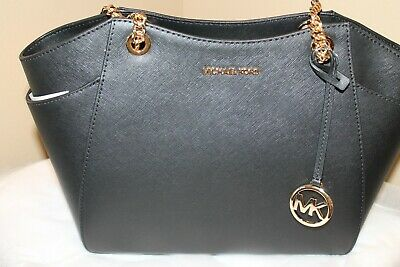 Michael Kors *Jet Set Saffiano Leather Chain Black Shoulder Bag   NWT $378