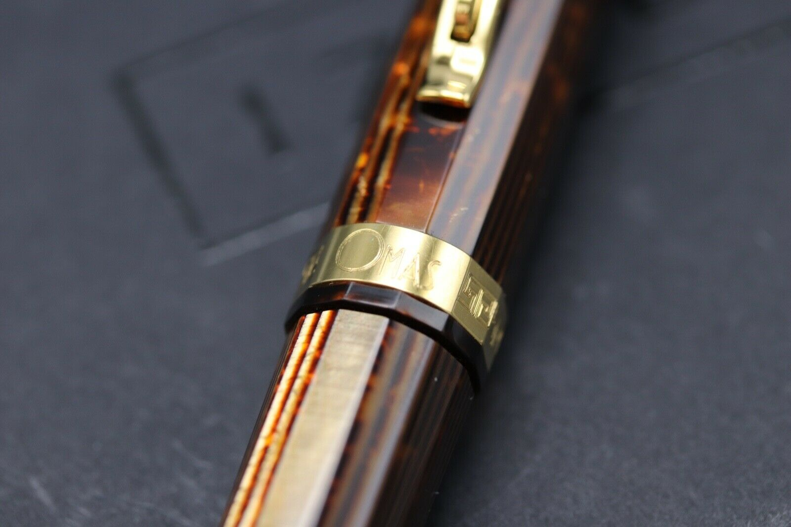 Omas Milord Arco Bronze Celluloid Gold Trim Ballpoint Pen 2