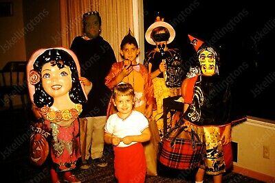 1960 group of kids in halloween costume kodachrome 35mm slide Co1 - Kid Group Halloween Costumes