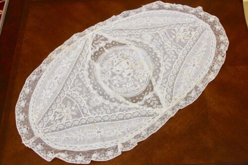 ANTIQUE FRENCH NORMANDY MIXED LACE OVAL BOUDOIR PILLOWCASE PILLOW  SHAM COVER
