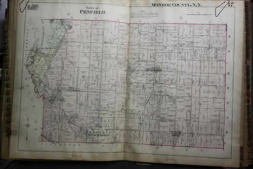 TOWN OF PENFIELD NEW YORK  1924 G.M. HOPKINS  HAND COLORED MAP