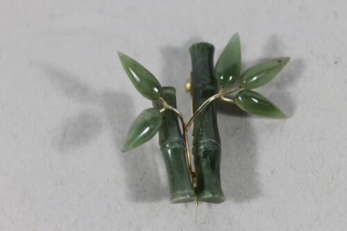 One carved jadeite jade bamboo brooch