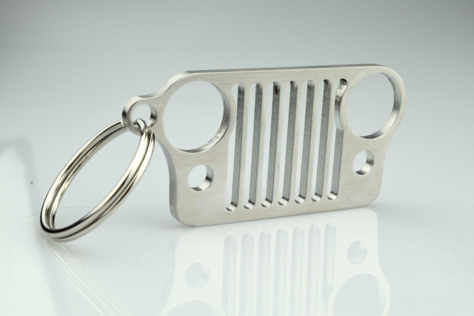 American Made Stainless Steel Jeep Grill Key Chain, KeyRing CJ, JK, TJ, YJ, XJ
