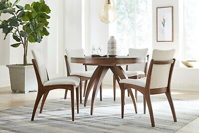 Amish Mid-Century Dining Set Modern Round Table Upholstered Chairs Solid Wood