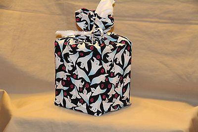 Halloween GHOSTS SWIRLS 100% cotton fabric tissue box cover fabric gift bag - Halloween Tissue Box Cover