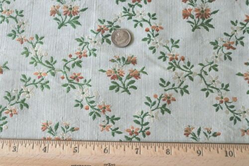 "French Antique 18thC Green & Peach Silk Brocade Fabric Panel~37""X18.5""~Dolls"