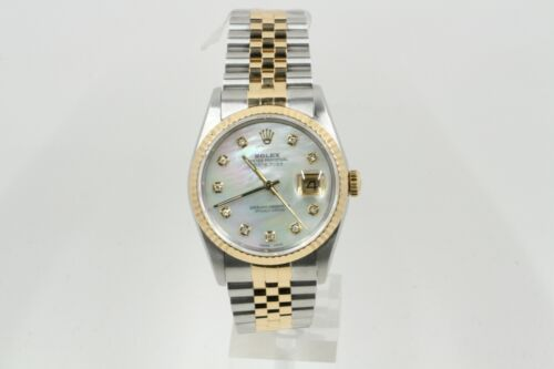 Rolex Datejust 36mm Model 16233 Mother Of Pearl Diamond Dial & A Fluted Bezel