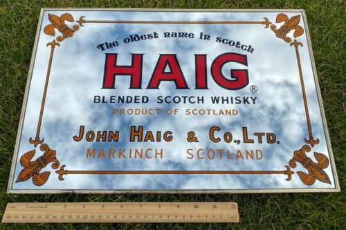"Vintage Haig Blended Scotch Whisky Mirror Sign 18"" x 12"" Made in Japan"