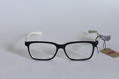 LEVI'S LS06256 EYEGLASS FRAMES LIGHTWEIGHT PLASTIC 53-15-145 BLACK WHITE (Lightweight Plastic Eyeglass Frames)