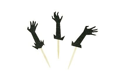 """GLITTER ZOMBIE Hands Halloween Cupcake Topper Pick 2.5"""" Tall Choose package"""