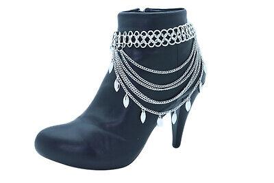 Nuevo Mujer Plata Cadena Metal Botas Pulsera Tobillera Zapato Hoja Novia Charm