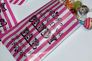 PERSONALISED-Sweet-Bags-For-Wedding-Candy-Bar-Sweet-Buffet-Pink-White-Striped