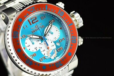 Invicta 52mm Pro Diver NFL OFFICIAL MIAMI DOLPHINS Chrono Bracelet Steel Watch
