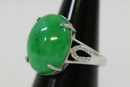 Silver ring with jadeite cabochon