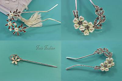 Haarstab Haarnadel Haargabel Strass Perlen Blume Brautschmuck Haarschmuck B603