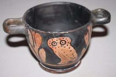 QUALITY ANCIENT GREEK OWL SKYPHOS 5/4TH CENTURY BC