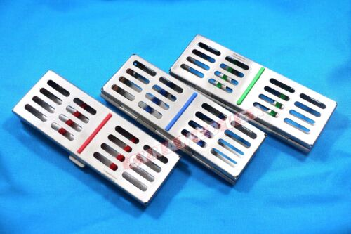 3 GERMAN DENTAL AUTOCLAVE STERILIZATION CASSETTE RACK BOX TRAY FOR 5 INSTRUMENT