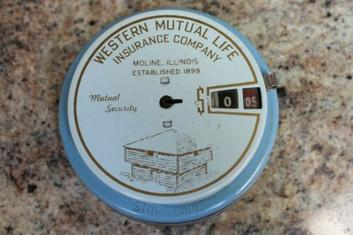 VINTAGE 1950s ADD-O-BANK FROM WESTERN MUTUAL INSURANCE - WORKING - NO KEY