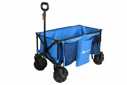 Ozark Trail Camping All-terrain Folding Wagon with Oversized Wheels, Blue - NEW