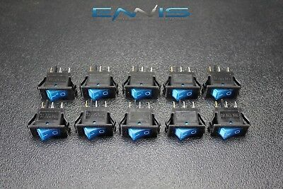 10 Pcs Rocker Switch On Off Mini Toggle Blue Led 12v 16 Amp Mount Hole Ec-1220bl