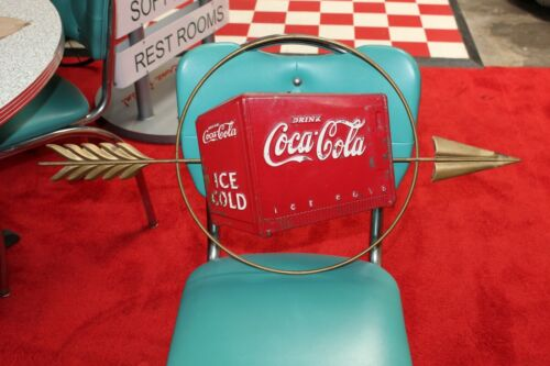 1940s Original Coca-Cola Gold Arrow Sign with Ice Chest Advertising
