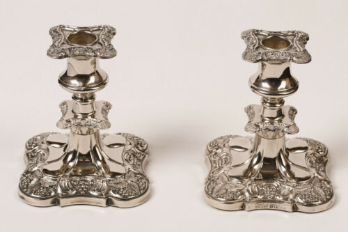 SILVER PLATED ORNATE CANDLESTICKS with Grapevine Motif, Made in England