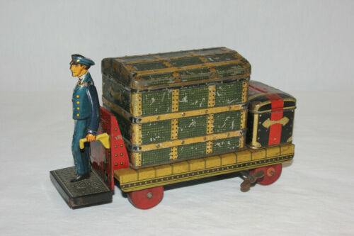 Scarce German Tin Wind Up Baggage Porter Luggage Cart w/ Trunks EX Must L@@K