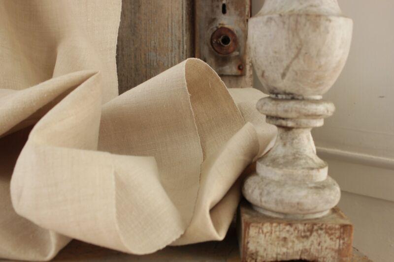 Antique linen fabric finely woven homespun 5 yards pale homespun LOVELY