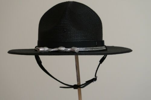Lawman Milan Black Trooper Sheriff Style Campaign Hat With Rain Cover in Box