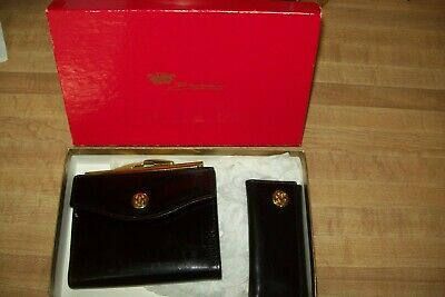 Vintage BOSCA. Black SET Leather French Coin Purse AND Key Holder NOS In Box