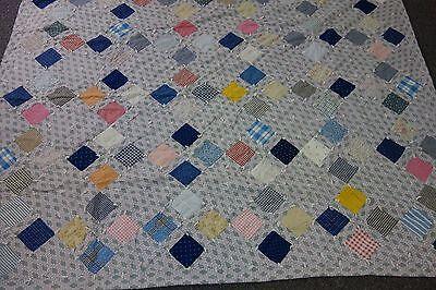 Edwardian Tied Quilt-GARDEN OF EDEN Pattern-VG-63x77-Cherries Print Backing-SALE